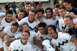 Players of Slovenia celebrate after the U-19 football game between National teams of Slovenia and Wales in Qualifying Round of European Under-19 Championship 2012, on September 26, 2011, in Slovenska Bistrica, Slovenia. (Photo by Vid Ponikvar / Sportida)