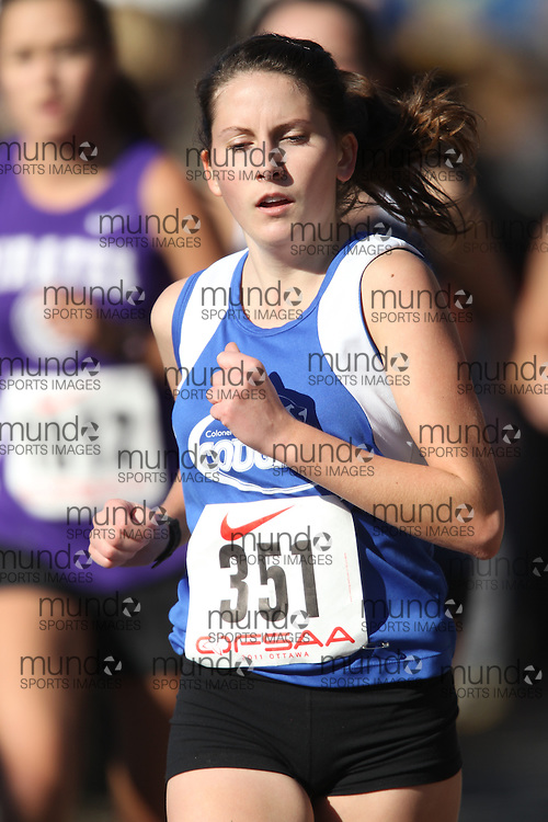 Caitlin Morris of Colonel By competes in the senior girls race at the 2011 OFSAA Cross Country Championships in Ottawa, Ontario, November 5, 2011..GEOFF ROBINS/ Mundo Sport Images
