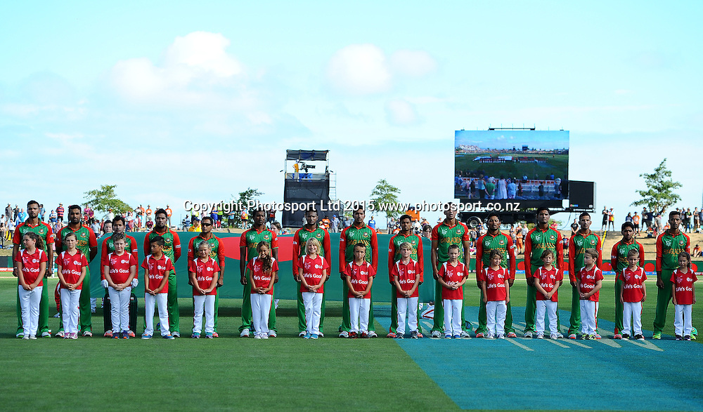 Bangladesh team during their National Anthem at the 2015 ICC Cricket World Cup match between Bangladesh v Scotland. Saxton Oval, Nelson, New Zealand. Thursday 5 March 2015. Copyright Photo: Chris Symes / www.photosport.co.nz