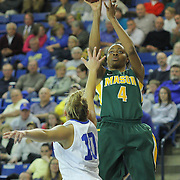 George Mason Forward Amber Easter (4) takes a jump shot in the second half of a regular season NCAA basketball game against Delaware Thursday, Jan 10, 2013 at the Bob Carpenter Center in Newark Delaware...Delaware (10-3; 1-0) defeated George Mason (5-8; 0-2) 62-27..Delaware is riding a four-game winning streak after defeating George Mason, St. John's in over- time on Jan. 2 Villanova (Dec. 29) and Duquesne (Dec. 30) to capture the 2012 Dartmouth Blue Sky Classic title.