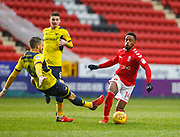 Charlton Athletic's Tariqe Fosu is tackled by Oxford United's Aaron Martin during the EFL Sky Bet League 1 match between Charlton Athletic and Oxford United at The Valley, London, England on 3 February 2018. Picture by John Marsh.