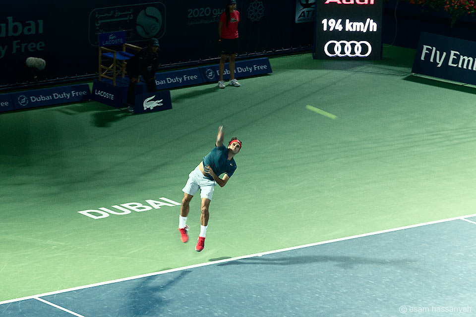 Roger Federer serves in the Barclays mens tennis championships in Dubai.<br />