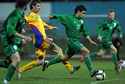 Radu Barbu of Romania and Marijo Mocic (20)  of Slovenia during Friendly match between U-21 National teams of Slovenia and Romania, on February 11, 2009, in Nova Gorica, Slovenia. (Photo by Vid Ponikvar / Sportida)