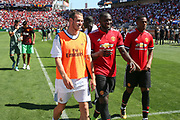 Real Madrid Midfielder Gareth Bale and Manchester United Forward Romelu Lukaku walk off the pitch together during the AON Tour 2017 match between Real Madrid and Manchester United at the Levi's Stadium, Santa Clara, USA on 23 July 2017.