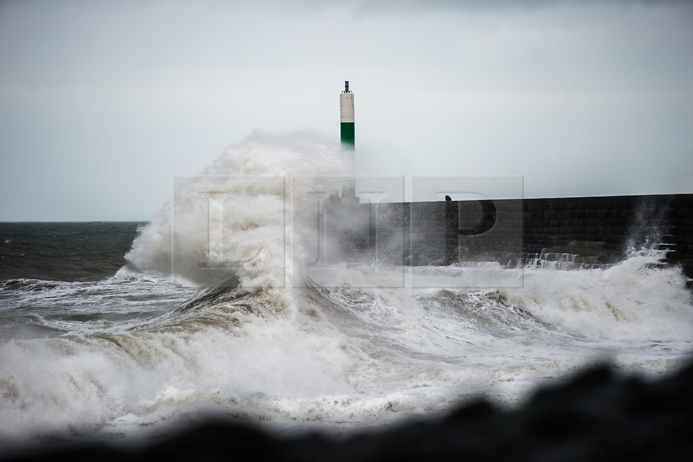 © Licensed to London News Pictures. Aberystwyth Wales UK, Friday 12 October 2018. UK Weather: Storm Callum. the third named storm of the UK season, hits Aberystwyth on the west wales coast, with ferocious waves crashing into the harbour wall and lighthouse. Photo  credit: Keith Morris / LNP