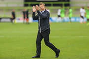 Forest Green Rovers manager, Mark Cooper acknowledges the supporters at the final whistle during the Vanarama National League match between Forest Green Rovers and Bromley FC at the New Lawn, Forest Green, United Kingdom on 17 September 2016. Photo by Shane Healey.