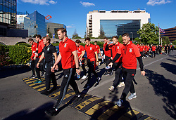 BELGRADE, SERBIA - Sunday, June 11, 2017: Wales' goalkeeper Owain Fon Williams and Gethin Jones during a team walk around the Hyatt Regency Hotel before the 2018 FIFA World Cup Qualifying Group D match between Wales and Serbia. (Pic by David Rawcliffe/Propaganda)