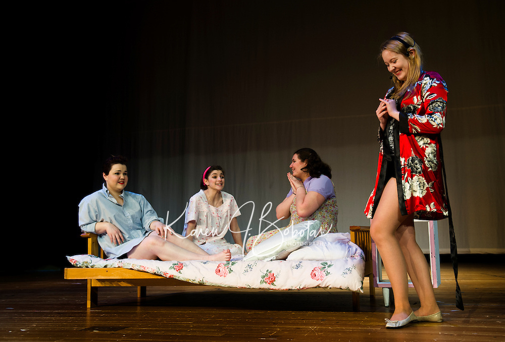 "Dress rehearsal for ""Grease"" at Winnisquam Regional High School.  Karen Bobotas/for the Laconia Daily Sun"