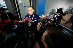 Glen Hanlon, head coach of Slovakia in mixed zone after the practice session of Slovakian National ice hockey team 1 day before IIHF 2011 World Championship Slovakia, on April 28, 2011 in Orange Arena, Bratislava, Slovakia. (Photo By Vid Ponikvar / Sportida.com)
