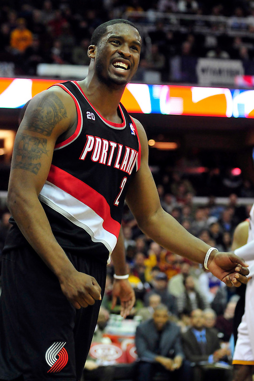 Feb. 5, 2011; Cleveland, OH, USA; Portland Trail Blazers guard Wesley Matthews (2) reacts after not getting a foul call during the third quarter against the Portland Trail Blazers at Quicken Loans Arena. The Trail Blazers beat the Cavaliers 111-105. Mandatory Credit: Jason Miller-US PRESSWIRE