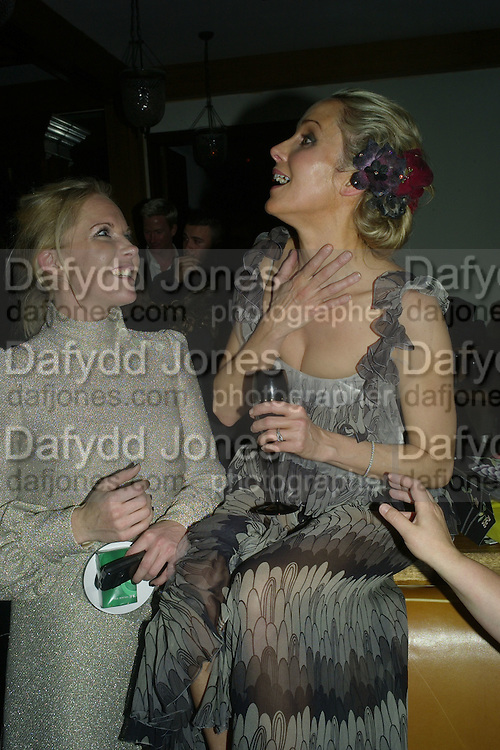 NINA YOUNG AND ANN MARIE THOMPSON ( BELOW) , Lucy Yeomans Editor of Harper's Bazaar and Moet and Chandon host the Gold Party. 17 Berkeley St. London W1. 1 November 2007. -DO NOT ARCHIVE-© Copyright Photograph by Dafydd Jones. 248 Clapham Rd. London SW9 0PZ. Tel 0207 820 0771. www.dafjones.com.