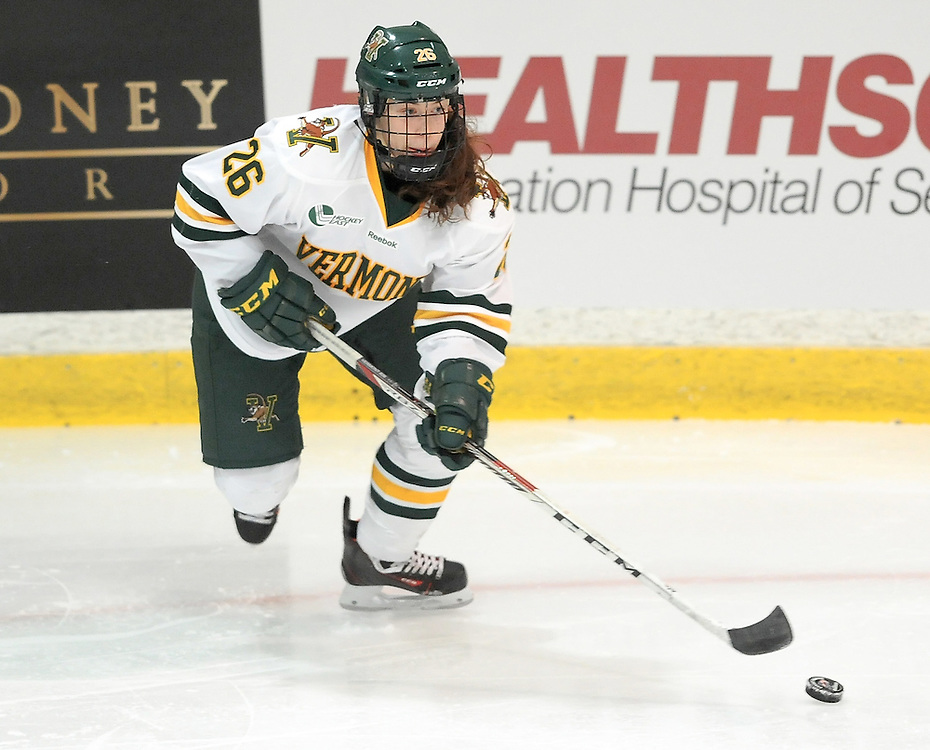 PITTSBURGH, PA - OCTOBER 14:  Ève-Audrey Picard #26 of the Vermont Catamounts skates with the puck during the game at 84 Lumber Arena on October 14, 2016 in Pittsburgh, Pennsylvania. (Photo by Justin Berl)