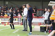 Gabrielle Ciofi and Michael Duff   during the EFL Sky Bet League 2 match between Crawley Town and Cheltenham Town at The People's Pension Stadium, Crawley, England on 31 August 2019.