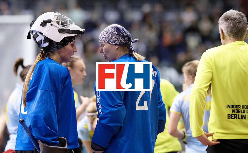 BERLIN - Indoor Hockey World Cup<br /> SF1 Netherlands - Ukraine<br /> foto: Alina Fadieieva (GK)  and Tetiana Stepanchenko (GK)  <br /> WORLDSPORTPICS COPYRIGHT FRANK UIJLENBROEK