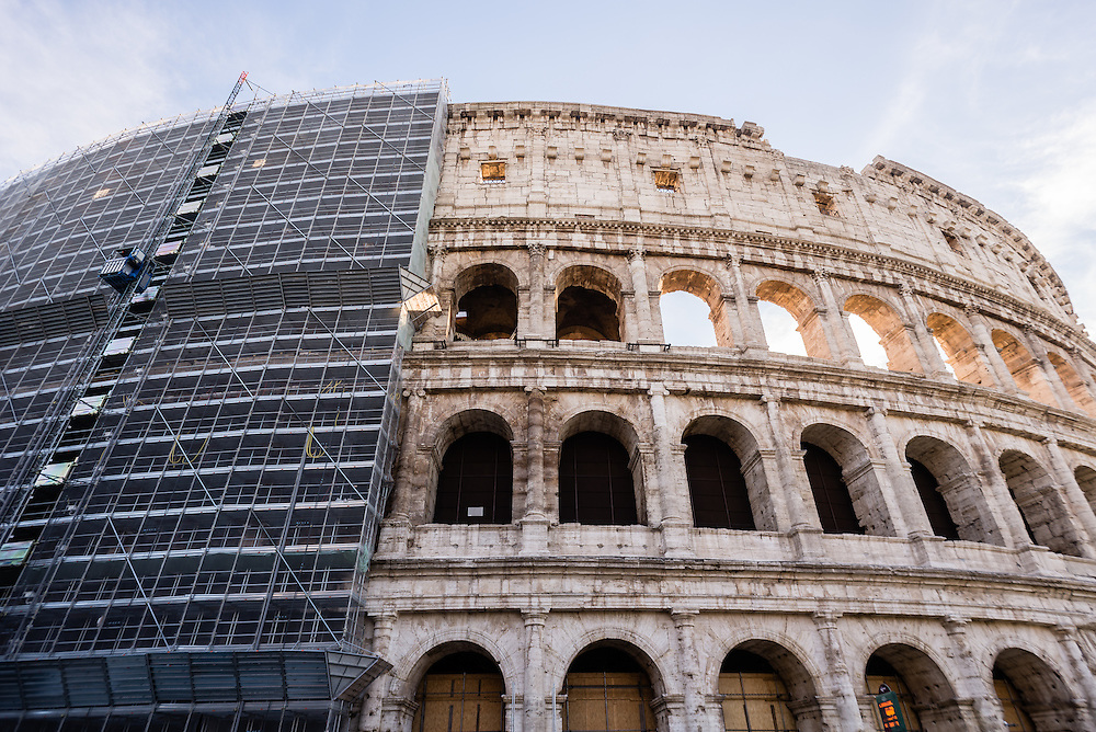 The Colosseum undergoing renovation, Rome