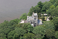 Aerial of Gillette Castle State Park, along the Connecticut River, Hadlyme, CT