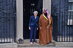 © Licensed to London News Pictures. 07/03/2018. London, UK. British Prime Minister Theresa May meets Saudi Crown Prince Mohammed bin Salman at No.10 Downing during a state visit. Photo credit: Ray Tang/LNP