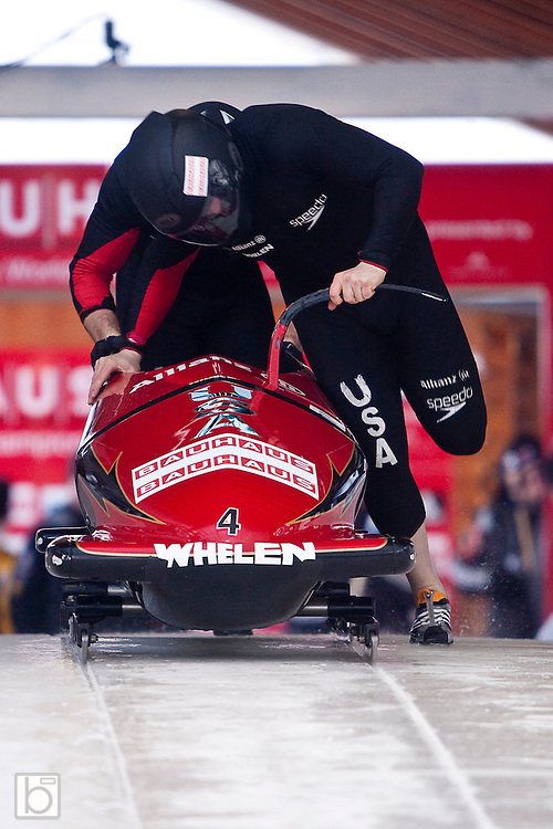 USA's Steven Holcomb and brakeman Curtis Tomasevicz push down the start ramp for the first run of the two-man Bobsled World Championships at the Olympic Sports Complex in Lake Placid, N.Y. Saturday, Feb 21, 2009.  (Photo/Todd Bissonette - usabobsledphotos.com)
