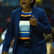 Chicago Sky Head Coach POKEY CHATMAN shouts out instructions to her defense during the first half of a WNBA regular season game between The Washington Mystics and the Chicago Sky Wednesday, July. 24, 2013 at The Verizon center in Washington DC.