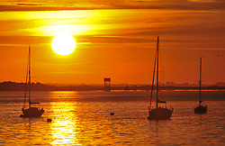 © Licensed to London News Pictures. 02/08/2018<br /> Gravesend, UK. Boats on the River Thames at sunrise at Gravesend in Kent, as the UK is expected to experience another heatwave. Photo credit: Grant Falvey/LNP