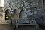 Interior of Iona Abbey ancient monument on Isle of Iona in the Inner Hebrides and Western Isles, Scotland