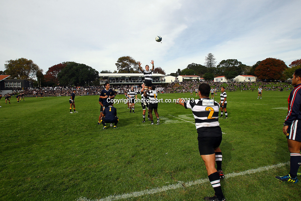 General View of play, First XV schoolboy Rugby, Auckland Grammar v New Plymouth Boys High, Auckland Grammar High School, Auckland. 14 May 2013. Photo: William Booth/photosport.co.nz