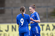 Farmington's Danni McGinley is congratulated by Robyn Smith after scoring her side's third goal - Forfar Farmington v Aberdeen in the Scottish Womens' Premier League Cup round one at Station Park, Forfar<br /> <br />  - &copy; David Young - www.davidyoungphoto.co.uk - email: davidyoungphoto@gmail.com