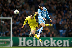 18.10.2011, City of Manchester Stadion, Manchester, ENG, UEFA CL, Gruppe A, Manchester City (ENG) vs FC Villarreal (ESP), im Bild Manchester City's Joleon Lescott in action against Villarreal CF'S Gerard Bordas // during UEFA Champions League group A match between Manchester City (ENG) vs FC Villarreal (ESP) at City of Manchester Stadium, Manchaster, United Kingdom on 18/10/2011. EXPA Pictures © 2011, PhotoCredit: EXPA/ Propaganda Photo/ David Rawcliff +++++ ATTENTION - OUT OF ENGLAND/GBR+++++