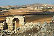 Israel, Northern Negev, Zaak ruins 4 Km north of Kibbutz Lahav and near Shomrya which can be seen in the background