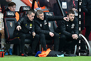 Manchester United manager Ole Gunnar Solskjaer pointing from the dugout during the Premier League match between Bournemouth and Manchester United at the Vitality Stadium, Bournemouth, England on 2 November 2019.