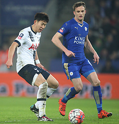 Son Heung-Min of Tottenham Hotspur (L) and Andy King of Leicester City in action - Mandatory byline: Jack Phillips/JMP - 20/01/2016 - FOOTBALL - King Power Stadium - Leicester, England - Leicester City v Tottenham Hotspur - {event}