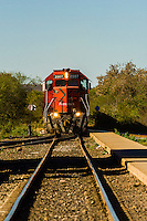 Chihuahua al Pacifico Railroad train arriving at El Fuerte, Mexico