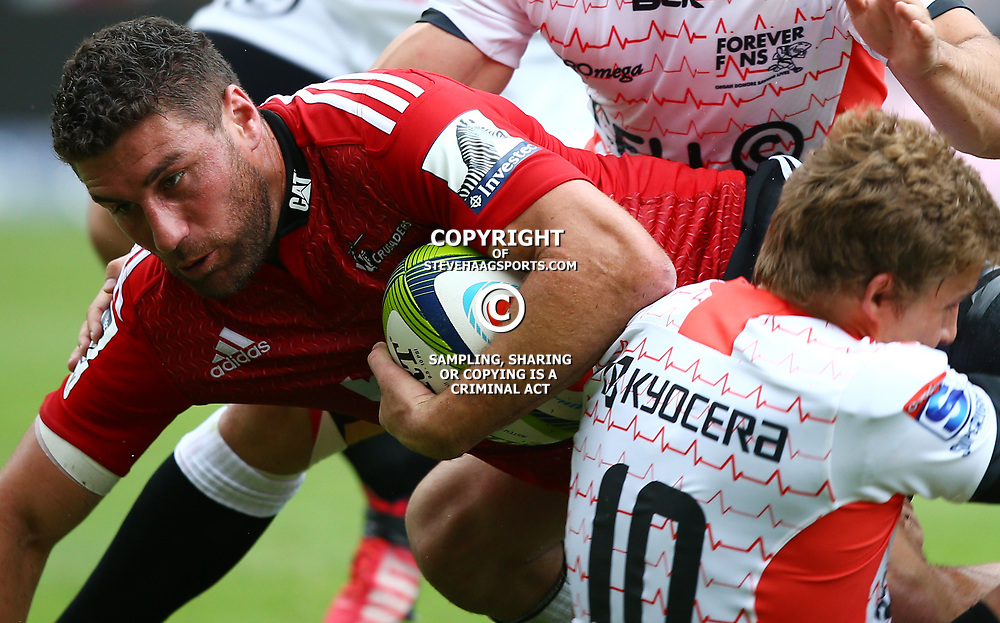 DURBAN, SOUTH AFRICA - APRIL 04: Kieron Fonotia of the Crusaders during the Super Rugby match between Cell C Sharks and Crusaders at Growthpoint Kings Park on April 04, 2015 in Durban, South Africa. (Photo by Steve Haag/Gallo Images)