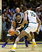 San Francisco State forward Derrick Brown (22) attacks the basket against the San Francisco Dons at Kezar Pavilion in San Francisco, Calif., on December 6, 2016. (Stan Olszewski/Special to S.F. Examiner)