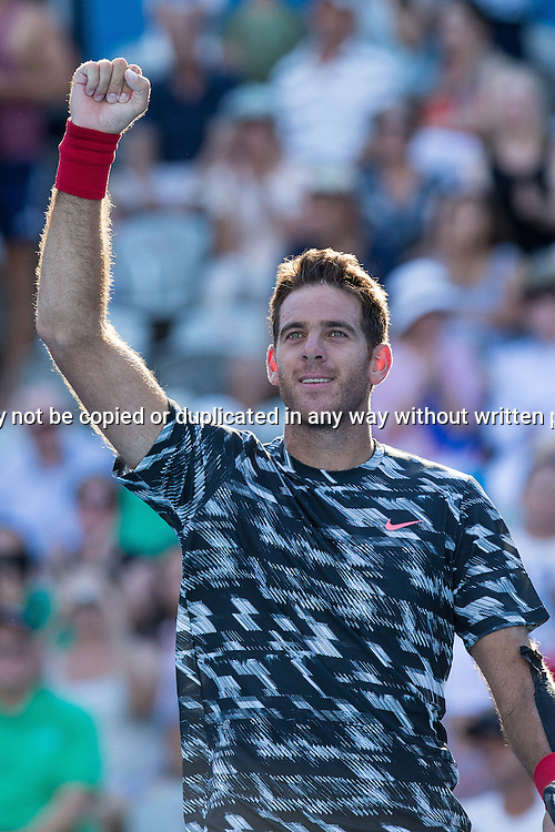 JUAN MARTIN DEL POTRO (ARG) during Day 4 of the 2015 Apia Sydney International played at Sydney Olympic Park Tennis Centre, Sydney, Australia, Wednesday, 14 Jan 2015. Photo: Murray Wilkinson (SMP Images).