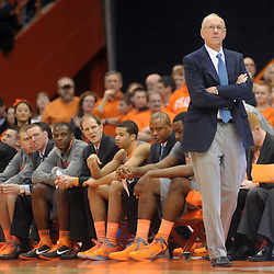 Syracuse Orange head coach Jim Boeheim watches the game from the bench in the first half against the South Florida Bulls at the Carrier Dome in Syracuse, NY. Syracuse leads South Florida 24-20 at the half.