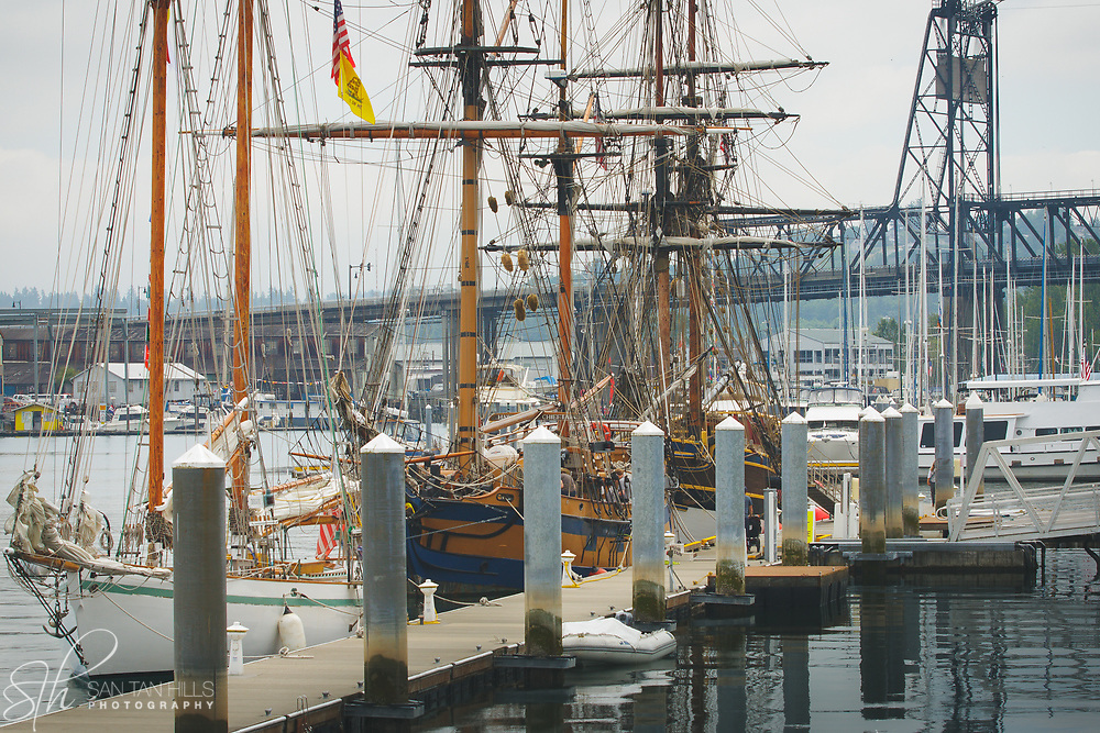 Tall Ships moored along Foss Waterway in Tacoma, WA