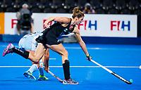 Londen - Brooke Neal (NZL)   tijdens de cross over wedstrijd Argentinie-Nieuw Zeeland (2-0)  bij het WK Hockey 2018 in Londen .  COPYRIGHT KOEN SUYK