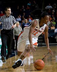 Virginia guard Monica Wright (22) dribbles towards the basket.  The Virginia Cavaliers women's basketball team defeated the Rhode Island Rams 89-53 at the John Paul Jones Arena in Charlottesville, VA on January 9, 2008.
