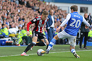 Sheffield United midfielder David Brooks (36) takes on Sheffield Wednesday midfielder Adam Reach (20)  during the EFL Sky Bet Championship match between Sheffield Wednesday and Sheffield Utd at Hillsborough, Sheffield, England on 24 September 2017. Photo by Phil Duncan.