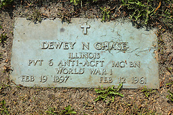 31 August 2017:   Veterans graves in Park Hill Cemetery in eastern McLean County.<br /> <br /> Dewy N Chase  Illinois  Private 6 Anti-ACFT  MG BN  World War I  Feb 19 1897  Feb 12 1961