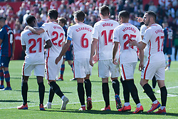 January 26, 2019 - Sevilla, Andalucia, Spain - Sevilla players celebrate the 4th goa from Sevilla FC during the La Liga match between Sevilla FC v Levante UD at the Ramon Sanchez Pizjuan Stadium on January 26, 2019 in Sevilla, Spain  (Credit Image: © Javier MontañO/Pacific Press via ZUMA Wire)