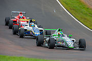 Josh Skelton (GBR) of JHR Developments exits Butchers, closely followed by Luke Browning (GBR) of Richardson Racing during Round 23 of the FIA Formula 4 British Championship at Knockhill Racing Circuit, Dunfermline, Scotland on 15 September 2019.