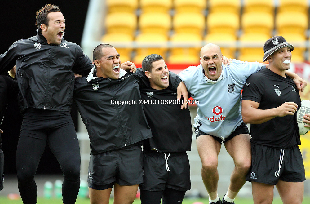 Warriors (L-R) Louis Anderson, George Tuakura, George Gatis, Awen Guttenbeil and Steve Price are all smiles during the Warriors training session held at Ericsson Stadium, Auckland, on Wednesday 8 March, 2006. Photo: Andrew Cornaga/PHOTOSPORT<br /><br /><br />148687