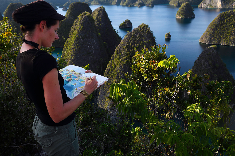 "Artist Stéphanie Ledoux at work, painting Karst landscapes in Waiag archipelago, Raja Ampat, Western Papua, Indonesian controlled New Guinea, on then Science et Images ""Expedition Papua, in the footsteps of Wallace"", by Iris Foundation"