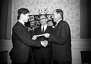 15/2/1966<br /> 2/15/1966<br /> 15 February 1966<br /> <br /> Mr. Morgan Docknell Managing Director Dockell and Son, Mr T.D. Spillane Editor Irish Hardware and Allied Trader and Mr Tom Moran Chairman National buy Irish Committee