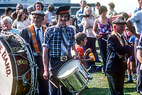 Bert Duncan, bandsman and Orangeman, taking part in the annual Orange Order Demonstration in the seaside village of Rossnowlagh, Co Donegal, Rep of Ireland. It is the only major Orange Order event to take place in the Rep of Ireland. The Rossnowlagh event is traditionally held on the Saturday before the more numerous Orange Parades usually on the actual 12th of July in N Ireland, except when it falls on a Sunday. The Donegal event as a rule passes off peacefully with the attendance of a few Irish policeman whose main purpose is to keep the traffic moving. 19780708211a<br /><br />Copyright Image from Victor Patterson, 54 Dorchester Park, <br />Belfast, UK, BT9 6RJ<br /><br />t1: +44 28 9066 1296 (from Rep of Ireland 048 9066 1296)<br />t2: +44 28 9002 2446 (from Rep of Ireland 048 9002 2446)<br />m: +44 7802 353836<br /><br />victorpatterson@me.com<br />www.victorpatterson.com<br /><br />Please see my Terms and Conditions of Use at VICTORPATTERSON.COM. It is IMPORTANT that you familiarise yourself with them.<br /><br />Images used on the Internet must be visibly watermarked i.e. ©VICTORPATTERSON.COM within the body of the image and copyright metadata must not be deleted. Images used on the Internet have a size restriction of 4kbs and are chargeable at the then current NUJ rates.<br /><br />This image is only available for the use of the download recipient i.e. television station, newspaper, magazine, book publisher, etc, and must not be passed on to any third party. It is also downloaded on condition that each and every usage is notified within 7 days to victorpatterson@me.com<br /><br />The right of Victor Patterson to be identified as the author is asserted in accordance with The Copyright Designs And Patents Act (1988).