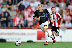 Charlton Athletic's Chris Solly in possession - Photo mandatory by-line: Patrick Khachfe/JMP - Mobile: 07966 386802 09/08/2014 - SPORT - FOOTBALL - Brentford - Griffin Park - Brentford v Charlton Athletic - Sky Bet Championship - First game of the season