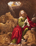 Daniel, one of four great Hebrew prophets, l cast into the Lions' den by Nebuchadnezzar (Nebuchadrezzar) king of Babylon who is calling down '..is thy God …able to delivery thee from the lions?'  'Bible' Daniel 6:20.  Daniel's survival demonstrated power of his true God Jehovah and insignificance of the Assyrio-Babylonian god Bel (Baal).  Chromolithograph c1860