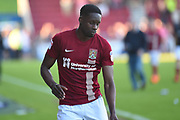 Northampton Town defender Leon Barnett (5) during the EFL Sky Bet League 1 match between Northampton Town and Oldham Athletic at Sixfields Stadium, Northampton, England on 5 May 2018. Picture by Dennis Goodwin.